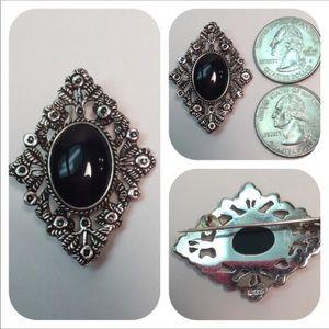 "Vint 925 SterlingSilver Black Onyx Brooch 1 1/8"" x"